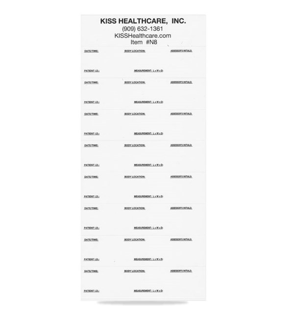 KISS Wound Measuring Rings Single Sheet, 8 Note Labels Per Sheet