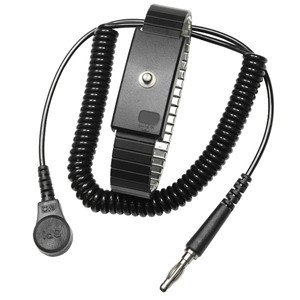 Wrist Ground Strap and cord jack, Metal, Adj, Xl, Black, 4MM SNAP, 6FT CORD