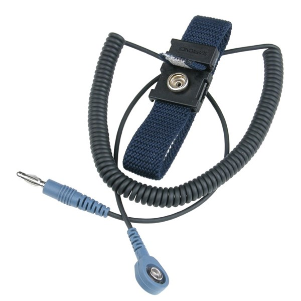 Wrist Ground Strap and cord jack Economy with 7 MM Socket and 6' Coil Cord with 7 MM Stud