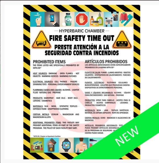 Hyperbaric Safety Poster - Fire Safety Time out, 18 x 24 (bilingual)